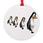penguin parade copy.jpg Round Ornament