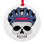 cycling skull copy.jpg Round Ornament