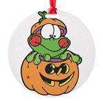frog in pumpkin copy.png Round Ornament
