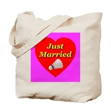 Just Married Badminton Theme Tote Bag