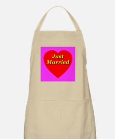 Just Married Classic Heart BBQ Apron