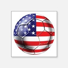"USA Soccer Ball Square Sticker 3"" x 3"""