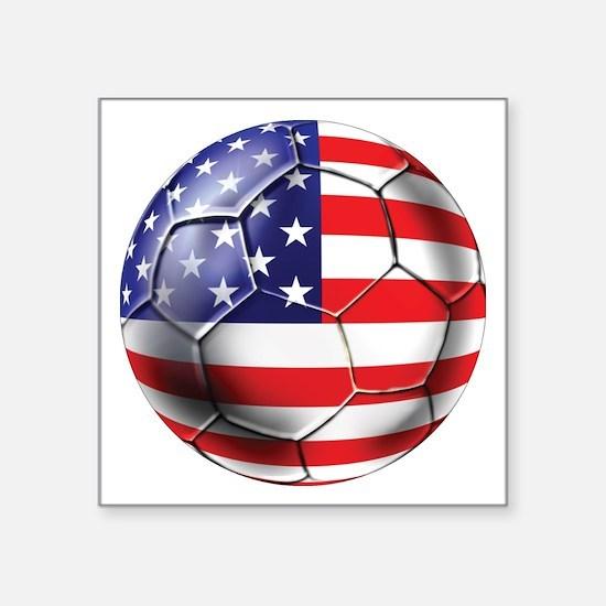 "USA Soccer Ball Square Sticker 3"" x 3"""