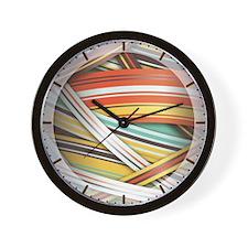 Striped Ribbon effect in Retro colors Wall Clock