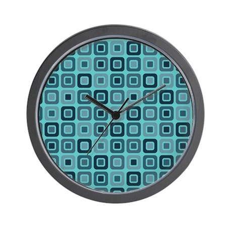 Retro Square bright aqua Wall Clock