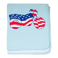 Motorcycle in American Flag baby blanket