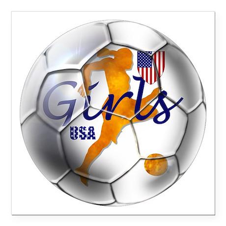 "USA Girls Soccer Square Car Magnet 3"" x 3&quo"
