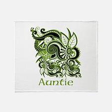 Auntie, Green Swirl Design. Throw Blanket