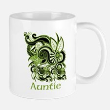 Auntie, Green Swirl Design. Mug