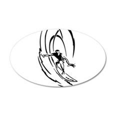 Cool Surfer Art 20x12 Oval Wall Decal