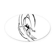 Cool Surfer Art Oval Car Magnet