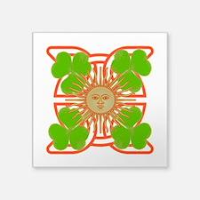 "Shamrock Sun Square Sticker 3"" x 3"""