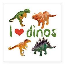 "I Love Dinos Square Car Magnet 3"" x 3"""