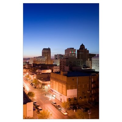 High angle view of buildings in a city, El Paso, T Poster