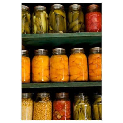 Close-up of pickle jars, Living History Farm at th Canvas Art