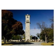 Low angle view of a clock tower, Fort Sam Houston, Framed Print