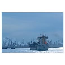 Industrial ship at a port, Port Of Houston, La Por Poster