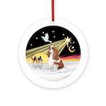 XmasDove-Blenheim Cavalier Ornament (Round)