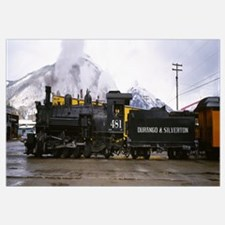 Steam train on railroad track, Durango and Silvert