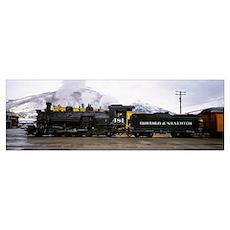 Steam train on railroad track, Durango and Silvert Poster