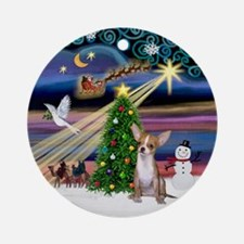 XmasMusic-Chihuahua (lt. red) Ornament (Round)