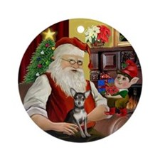 Santa and his Chihuahua (bl-crm) Ornament (Round)