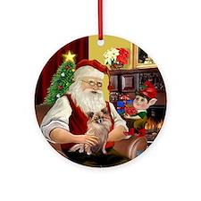 Santa & his Long Haired Chihuahua Ornament (Ro