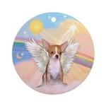 Light REd Chihuahua Angel Ornament (Round)