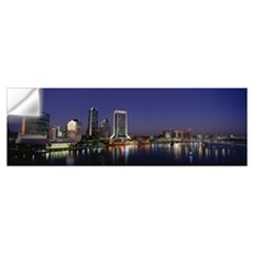 Buildings lit up at night, Jacksonville, Florida Wall Decal