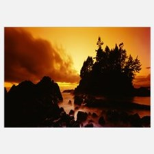 Silhouette of rocks and trees at sunset, Tofino, V
