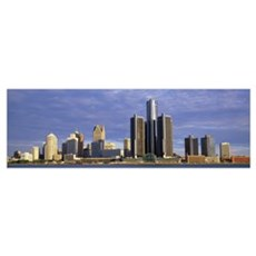 Skyscrapers at the waterfront, Detroit, Michigan Poster