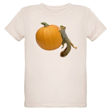 Squirrel Rolling Pumpkin Organic Kids T-Shirt