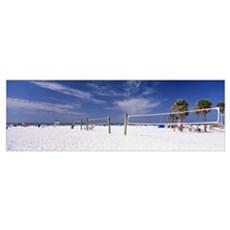 Volleyball nets on the beach, Siesta Beach, Siesta Poster