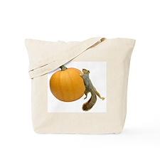 Squirrel Rolling Pumpkin Tote Bag