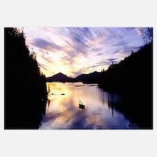 Sunset over a lake, Saranac Lake, Adirondack Mount