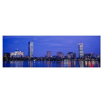 Night, Skyline, Back Bay, Boston, Massachusetts Poster
