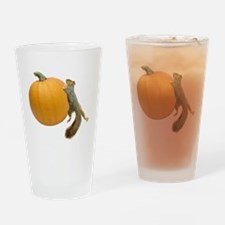 Squirrel Rolling Pumpkin Drinking Glass