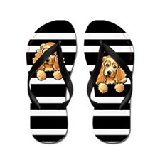 Cocker Spaniel Uptown B/W Stripes Flip Flops