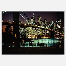 Suspension bridge lit up at dusk, Brooklyn Bridge,