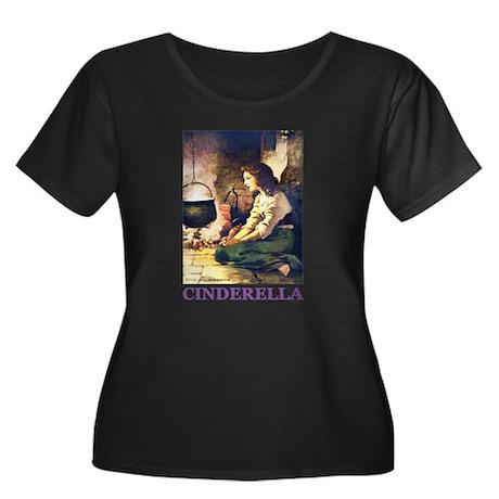 Cinderella Women's Plus Size Scoop Neck Dark T-Shi