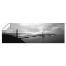 High angle view of a bridge across the sea, Golden Wall Decal
