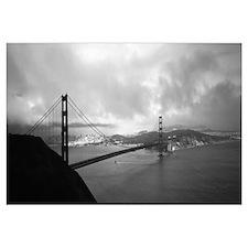 High angle view of a bridge across the sea, Golden