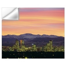 Skyline and mountains at dusk, Denver, Colorado Wall Decal