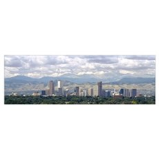 Clouds over skyline and mountains, Denver, Colorad Poster