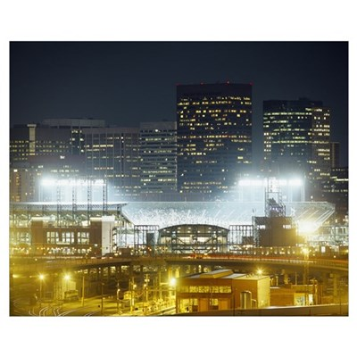 Coors Field lit up at night, Denver, Colorado Framed Print