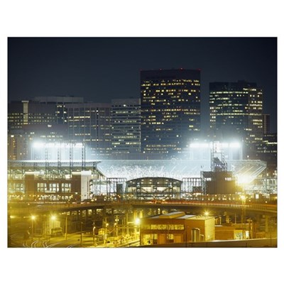 Coors Field lit up at night, Denver, Colorado Poster