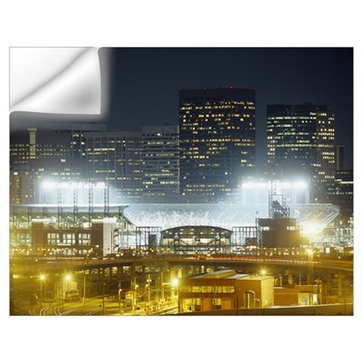 Coors Field lit up at night, Denver, Colorado Wall Decal