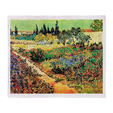 Flowering Garden with Path Throw Blanket