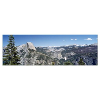 High angle view of a mountain range, Half Dome, Ne Poster