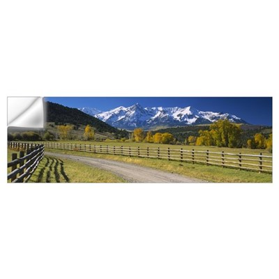 Fence along a road, Sneffels Range, Colorado Wall Decal